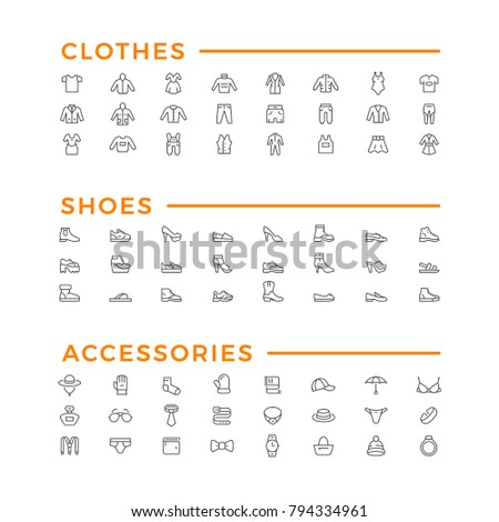 Set line icons of clothes, shoes and accessories isolated on white