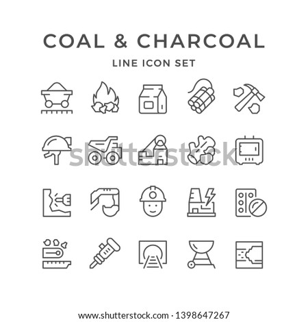 Set line icons of coal and charcoal isolated on white