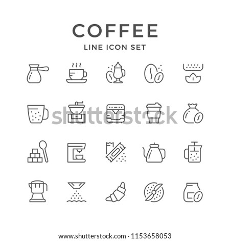 Set line icons of coffee isolated on white