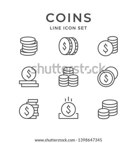 Set line icons of coins isolated on white