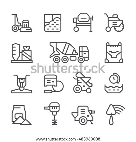 Set line icons of concrete isolated on white