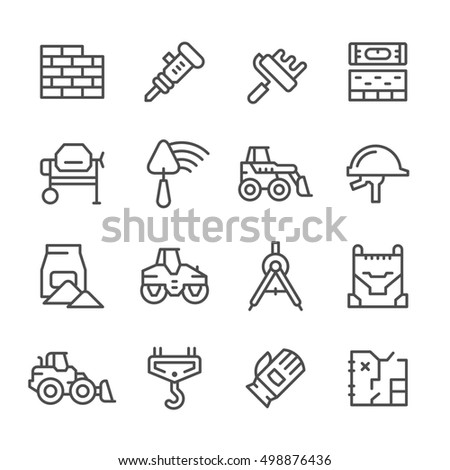 Set line icons of constructing industry isolated on white