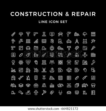 Set line icons of construction and repair isolated on black