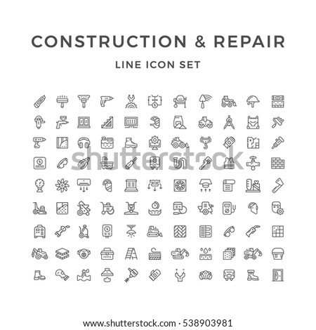 Set line icons of construction and repair isolated on white