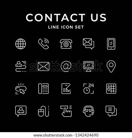 Set line icons of contact us isolated on black