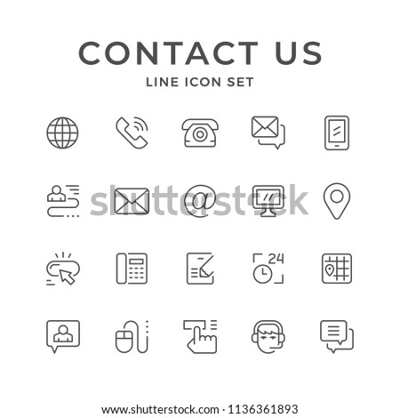 Set line icons of contact us isolated on white #1136361893
