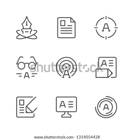 Set line icons of copywriting isolated on white