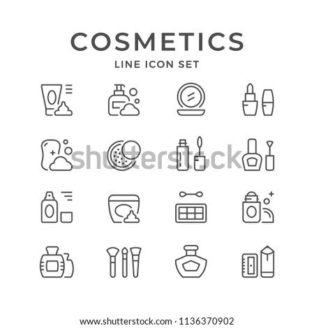 Set line icons of cosmetics isolated on white