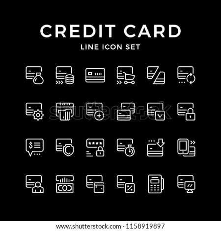 Set line icons of credit card isolated on black