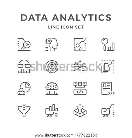 Set line icons of data analytics isolated on white
