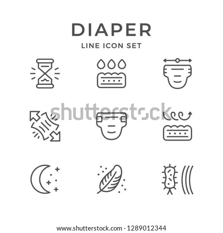 Set line icons of diaper isolated on white