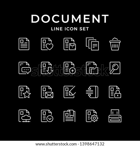 Set line icons of document isolated on black