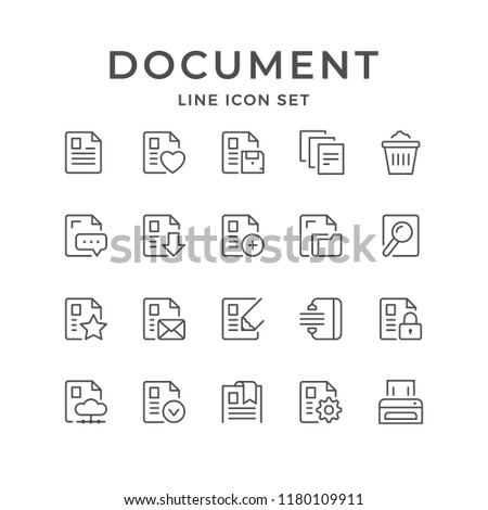 Set line icons of document isolated on white