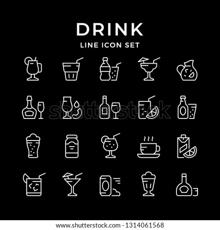 Set line icons of drink isolated on black