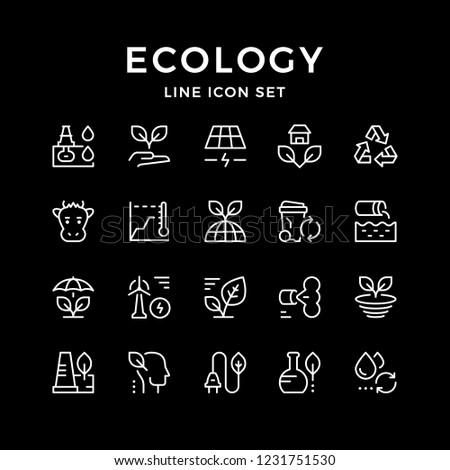 Set line icons of ecology isolated on black