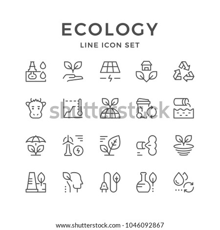 Set line icons of ecology isolated on white