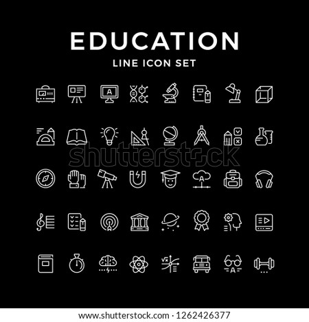 Set line icons of education isolated on black