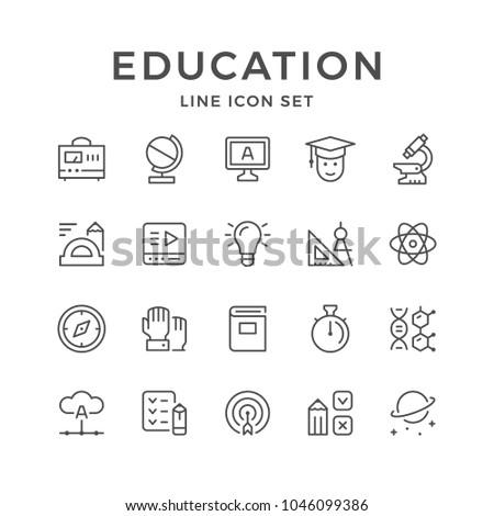Set line icons of education isolated on white