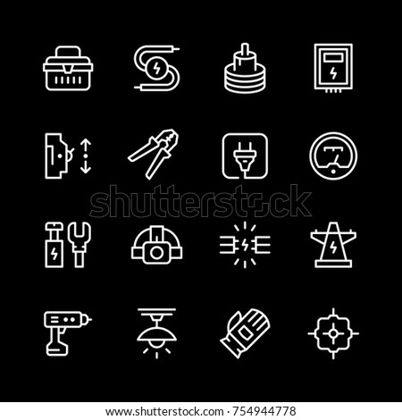 Set line icons of electricity isolated on black