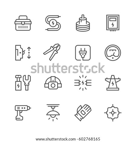 Set line icons of electricity isolated on white