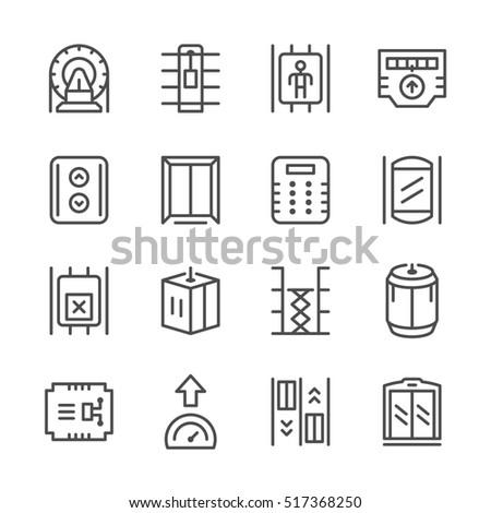 Set line icons of elevator isolated on white