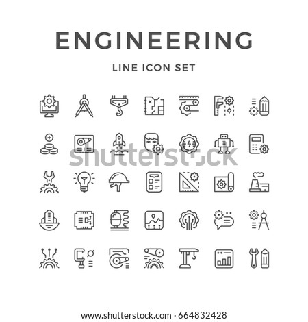Set line icons of engineering isolated on white