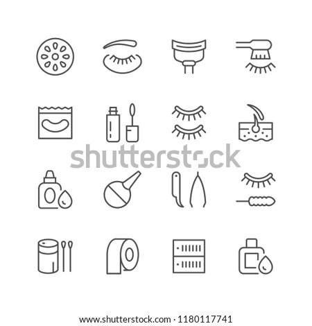 Set line icons of eyelash extension isolated on white