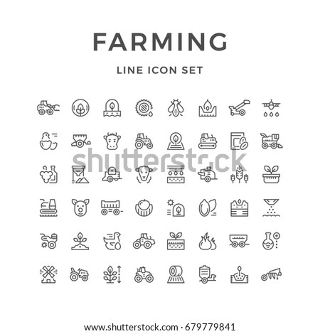 Set line icons of farming and agriculture isolated on white