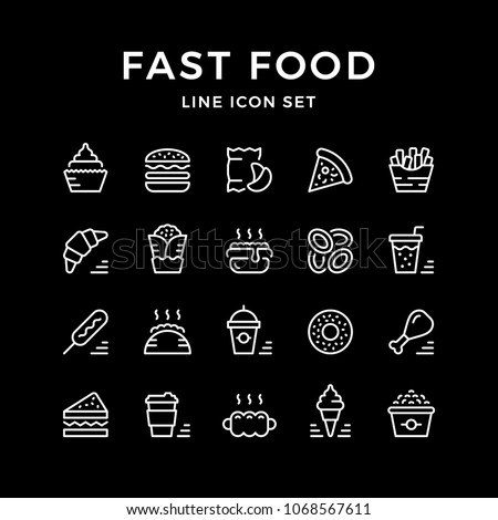 Set line icons of fast food isolated on black