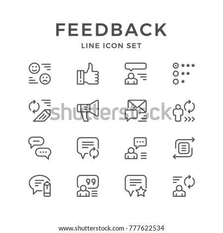 Set line icons of feedback isolated on white