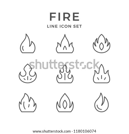 Set line icons of fire isolated on white