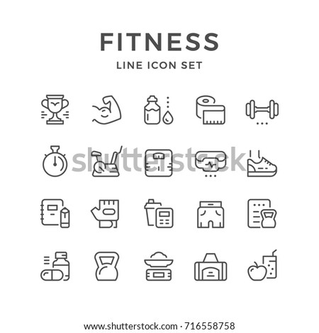 Set line icons of fitness isolated on white