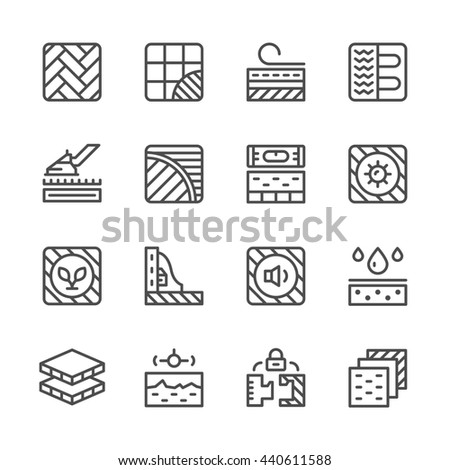 Set line icons of floor isolated on white