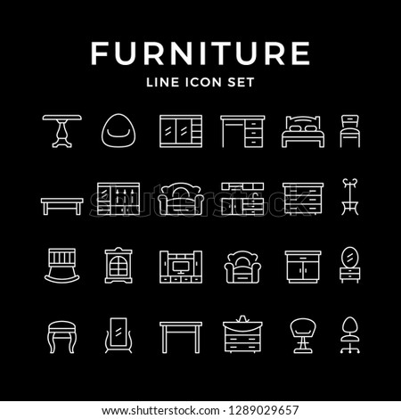 Set line icons of furniture isolated on black