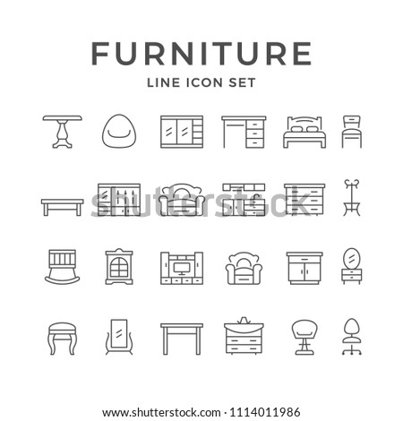 Set line icons of furniture isolated on white