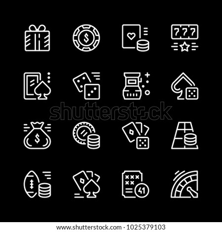 Set line icons of gambling isolated on black