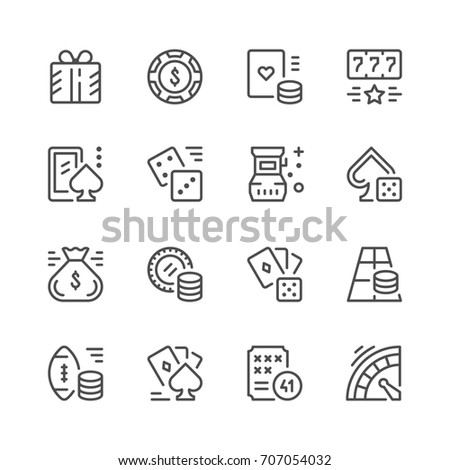 Set line icons of gambling isolated on white