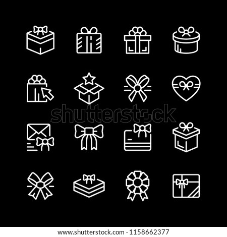 Set line icons of gift isolated on black