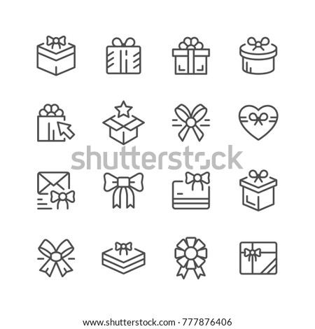 Set line icons of gift isolated on white
