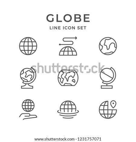 Set line icons of globe isolated on white
