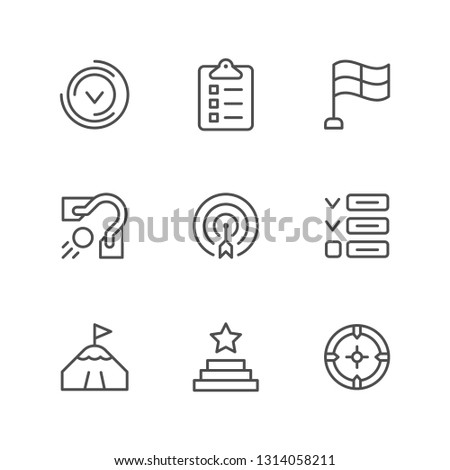 Set line icons of goal isolated on white