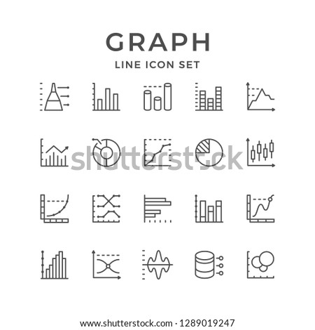 Set line icons of graph and diagram isolated on white