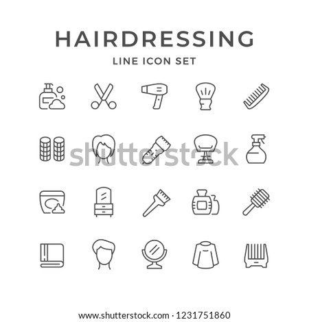 Set line icons of hairdressing isolated on white