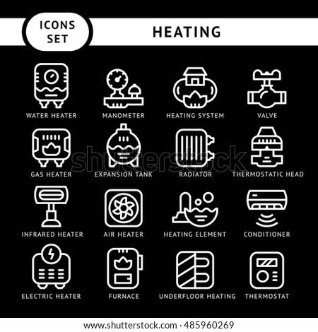 Set line icons of heating isolated on black - Shutterstock ID 485960269