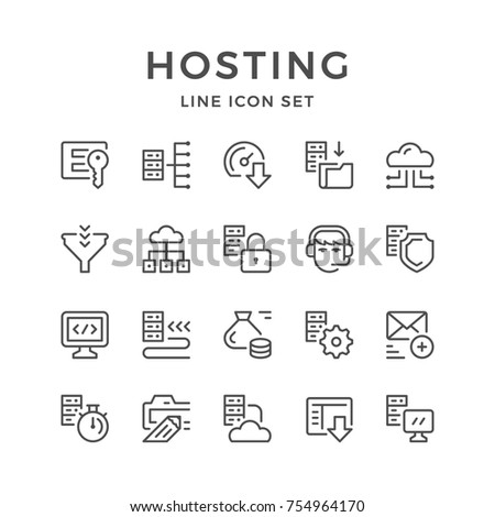 Set line icons of hosting isolated on white
