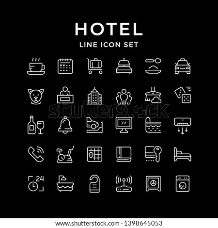Set line icons of hotel isolated on black