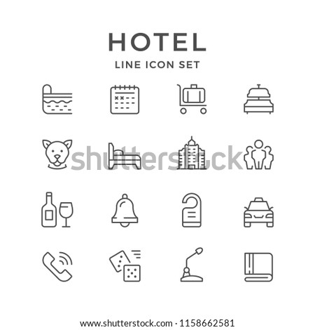Set line icons of hotel isolated on white