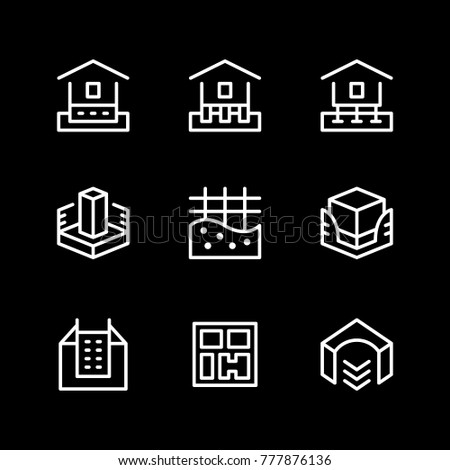 Set line icons of house foundation isolated on black