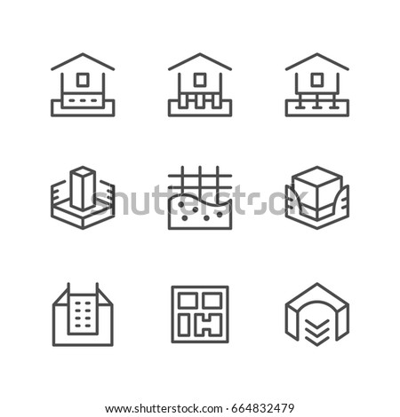 Set line icons of house foundation isolated on white