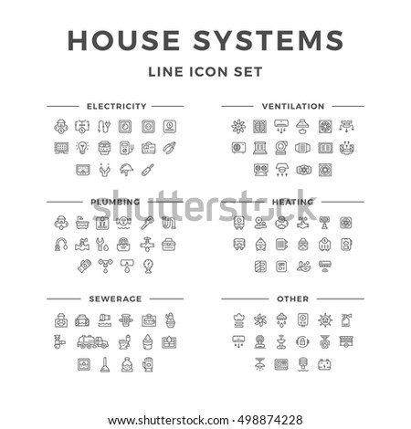 Set line icons of house systems isolated on white